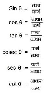 Sin θ= लम्ब / कर्ण,    cosec θ = कर्ण / लम्ब.  cos θ= आधार / कर्ण,  sec  θ= कर्ण / आधारcos θ= आधार / कर्ण,  sec  θ= कर्ण / आधार   tan  θ = लम्ब / आधार , cot θ = आधार/ लम्ब and reciprocals of trignomenytric formula 1. sin θ.cosec θ = 1 , cosec θ = 1 / Sin θ , Sin θ = 1 / cosec θ 2. cos θ.sec  θ = 1 ,  sec θ = 1/ cos θ, cos θ = 1 / sec θ 3. tan θ.cot θ = 1, cot θ= 1 / tan θ , tan θ = 1 / cot θ 4. tan θ = sin θ / cos θ, sin θ= cosθ.tanθ, 5. cos θ = sinθ/ tanθ, cot θ = cos θ / sin θ