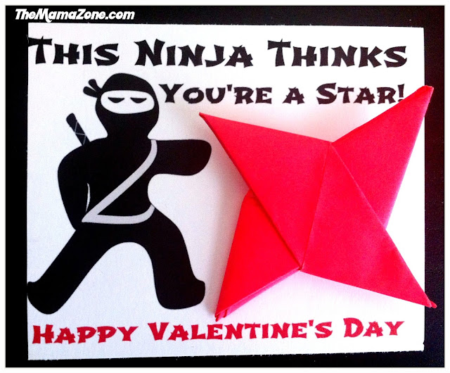 TheMamaZone.com: Origami Ninja Star Valentine's Day Printable - This Ninja thinks you're a star.