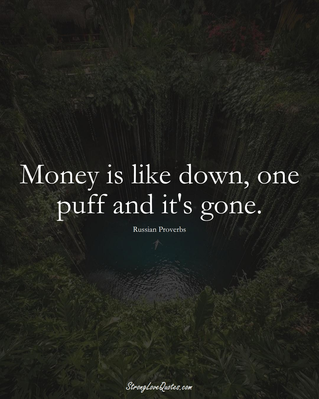 Money is like down, one puff and it's gone. (Russian Sayings);  #AsianSayings