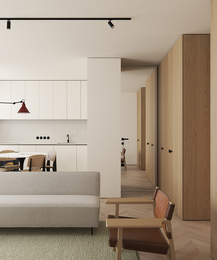 Open plan kitchen in a 66 sq.m apartment in Copenhagen designed by Emil Dervish