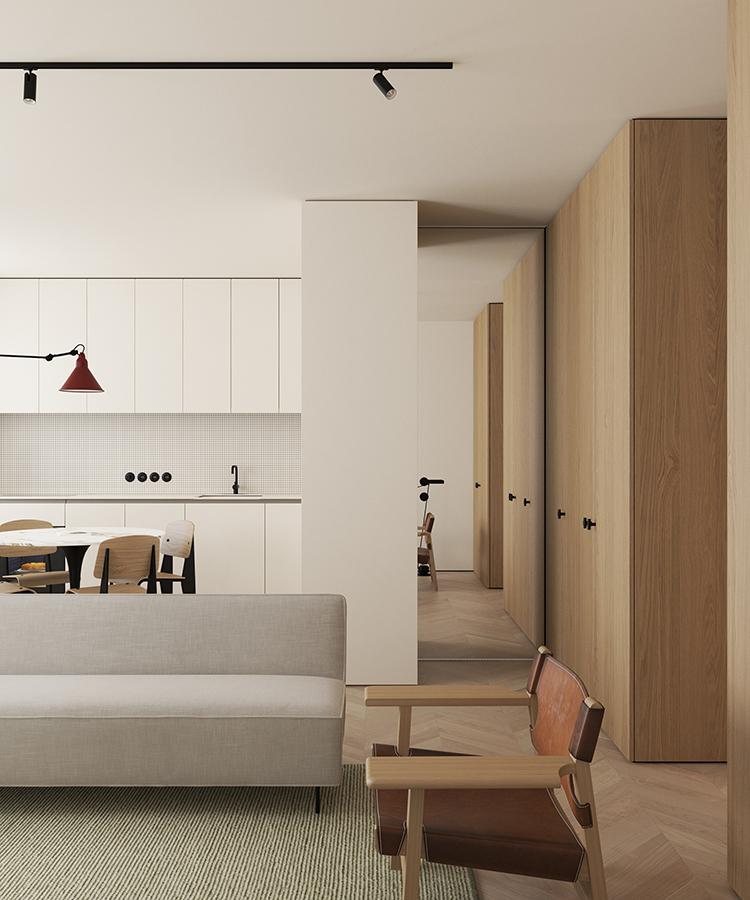 Open plan kitchen in a 66 sq.m apartment in Copenhagen designed by Emil Dervish