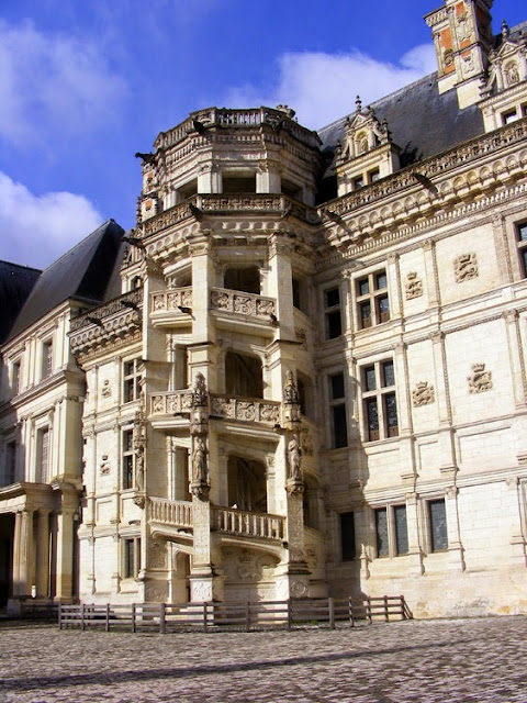 Renaissance staircase at the Royal Chateau of Blois. Loir et Cher. France. Photographed by Susan Walter. Tour the Loire Valley with a classic car and a private guide.