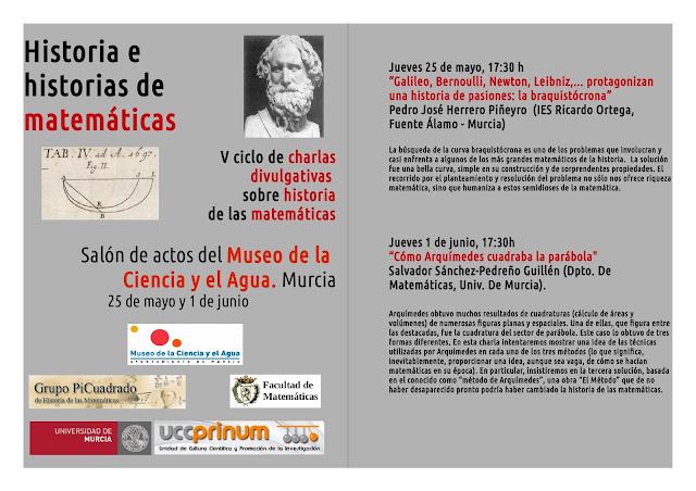 """Historia e historias de matemáticas"", V ciclo de charlas divulgativas sobre historia de las matemáticas."