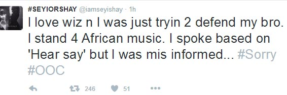 Sheyi Shay apologizes for saying Drake stole One Dance from Wizkid