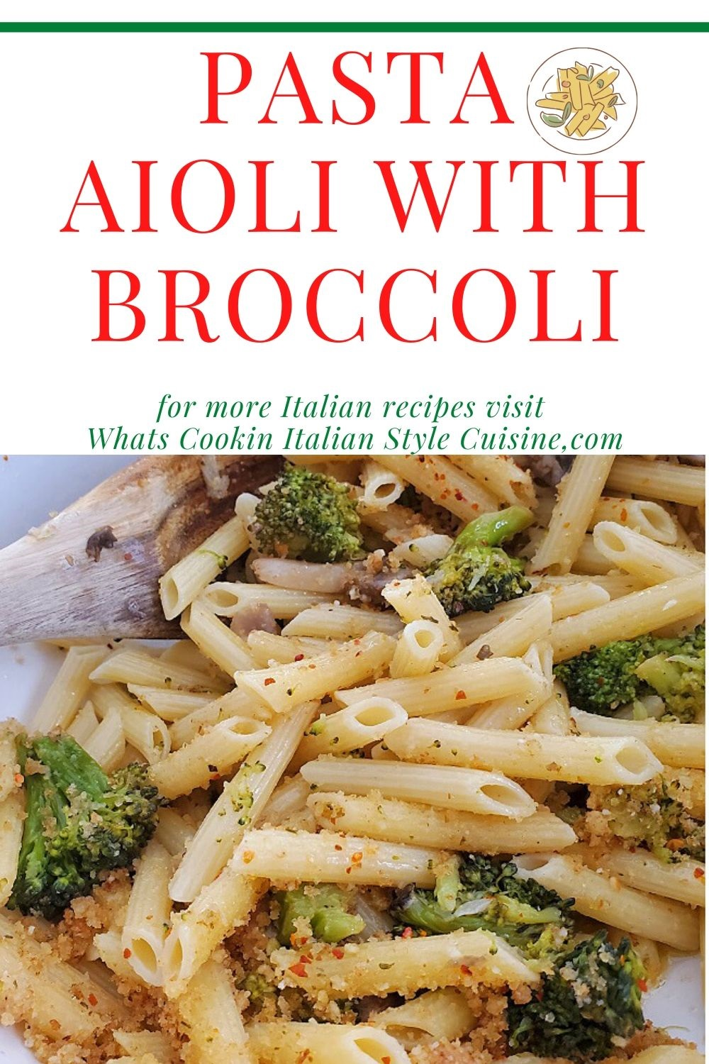 this is a pin for later broccoli and garlic penne pasta recipe