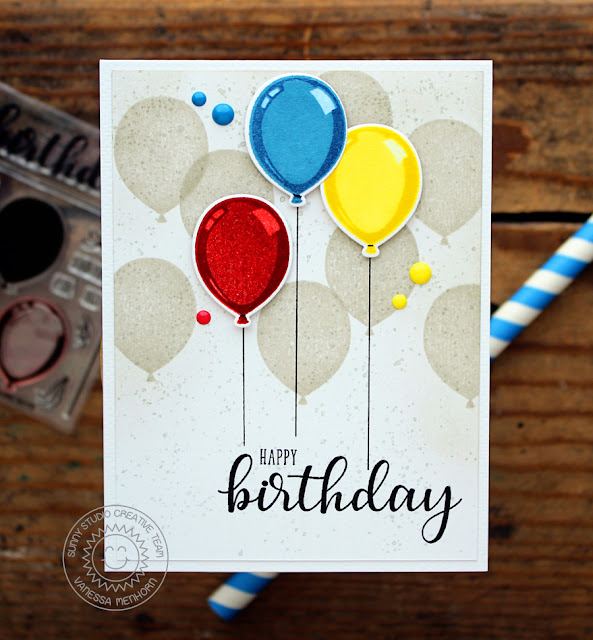 Sunny Studio Stamps: Birthday Balloon Subtle Stamped Background Card by Vanessa Menhorn