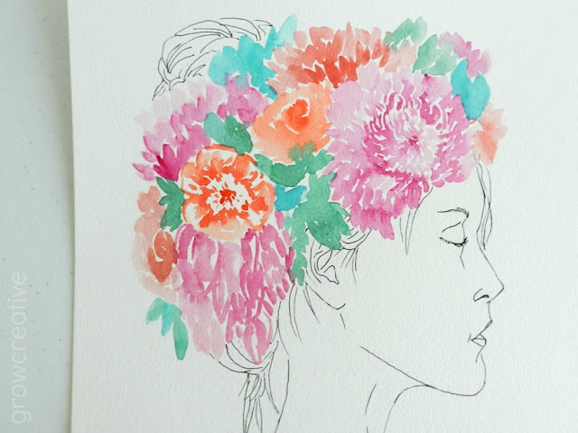 Watercolor Flower Crown Art: growcreativeblog