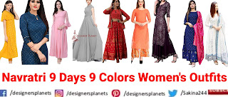 Navratri 9 days 9 color Women's Outfits