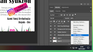 Menambah layer style Color Overlay