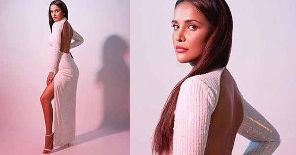 Aisha Sharma in this backless thigh high slit dress looks too hot to handle.