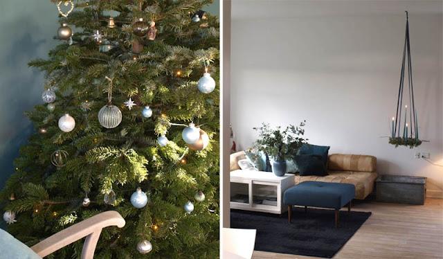 adventskrans og juletræ i grønne toner