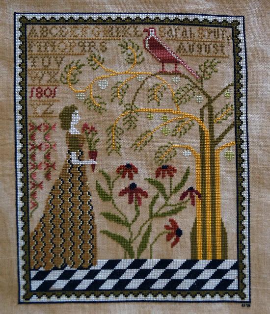 Carriage House Sampling, Sarah Spurr. 40-ct Vintage Mocha Zweigart hand dyed with assam tea, DMC, NPI