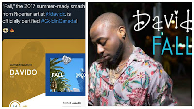 Barely two weeks after Nigerian Afro beats star, Davido announced that his song titled 'Fall' was certified 'Gold' in Canada, it has also gain same recognition in the United State of America.