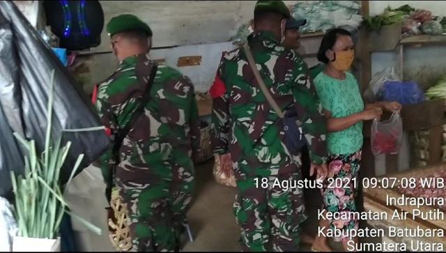 Pam Disiplin Mandiri Covid-19 Dilaksanakan Personel Jajaran Kodim 0208/Asahan Diwilayah Binaan