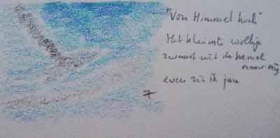 De hemel tekening en haiku