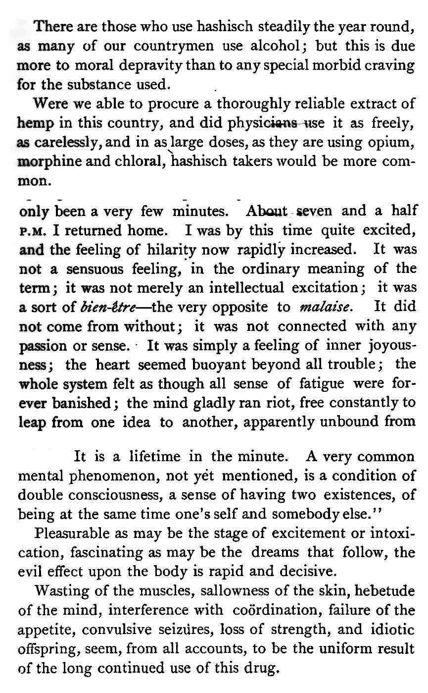 an 1881 hashish experience description