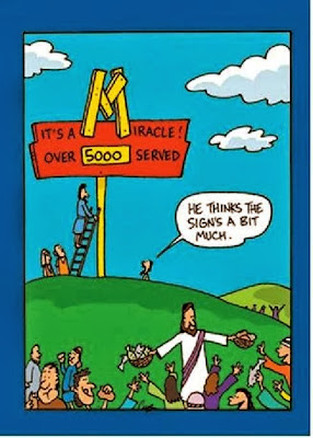 Funny Bible Joke Cartoon Picture - Jesus feeds the five thousand miracle sign - he thinks the signs a bit much