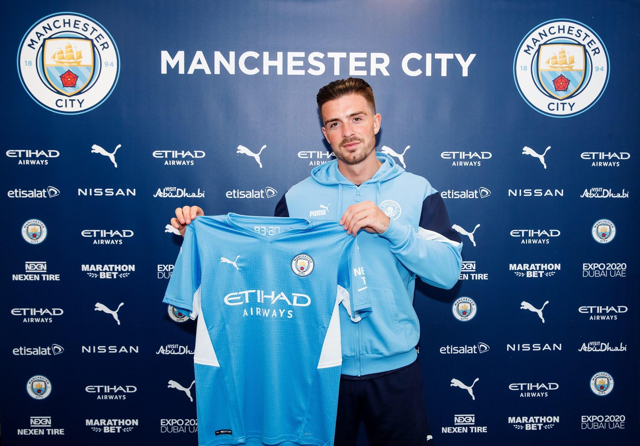 Newly-signed Manchester City midfielder Jack Grealish