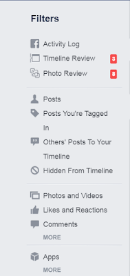 How to find a particular type of story in your Facebook activity log