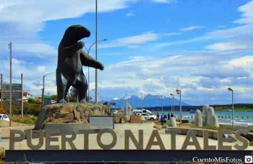 Waterfront of Puerto Natales, Mylodon Monument.