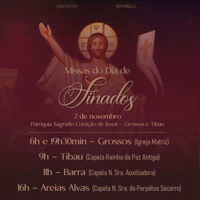 Paróquia divulga horários das Missas de Finados em Grossos e Tibau