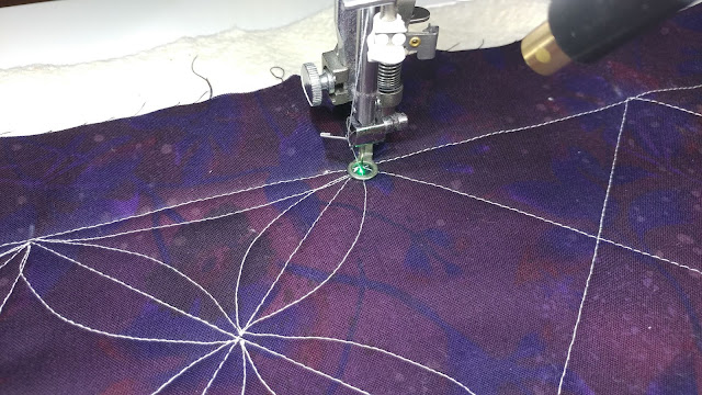 Using a dot laser for free-motion quilting accuracy