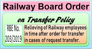 railway-board-order-rbe-203-2019-on-transfer-policy