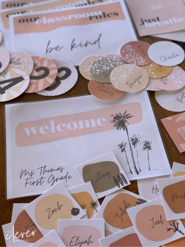 BOHO SUMMER Classroom Labels + Signs - Simple, stylish boho inspired classroom decor with a retro 70's summer feel is just what you need this back to school to create an inviting classroom   you clever monkey