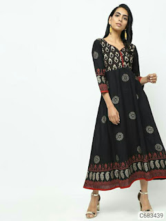 Women's Cotton Block Printed Calf Length Anarkali Kurti