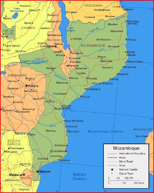Gambar Peta Mozambik