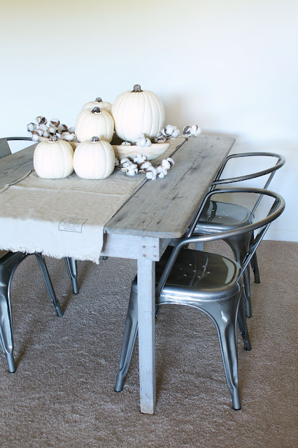 Neutral Fall Table Centerpiece