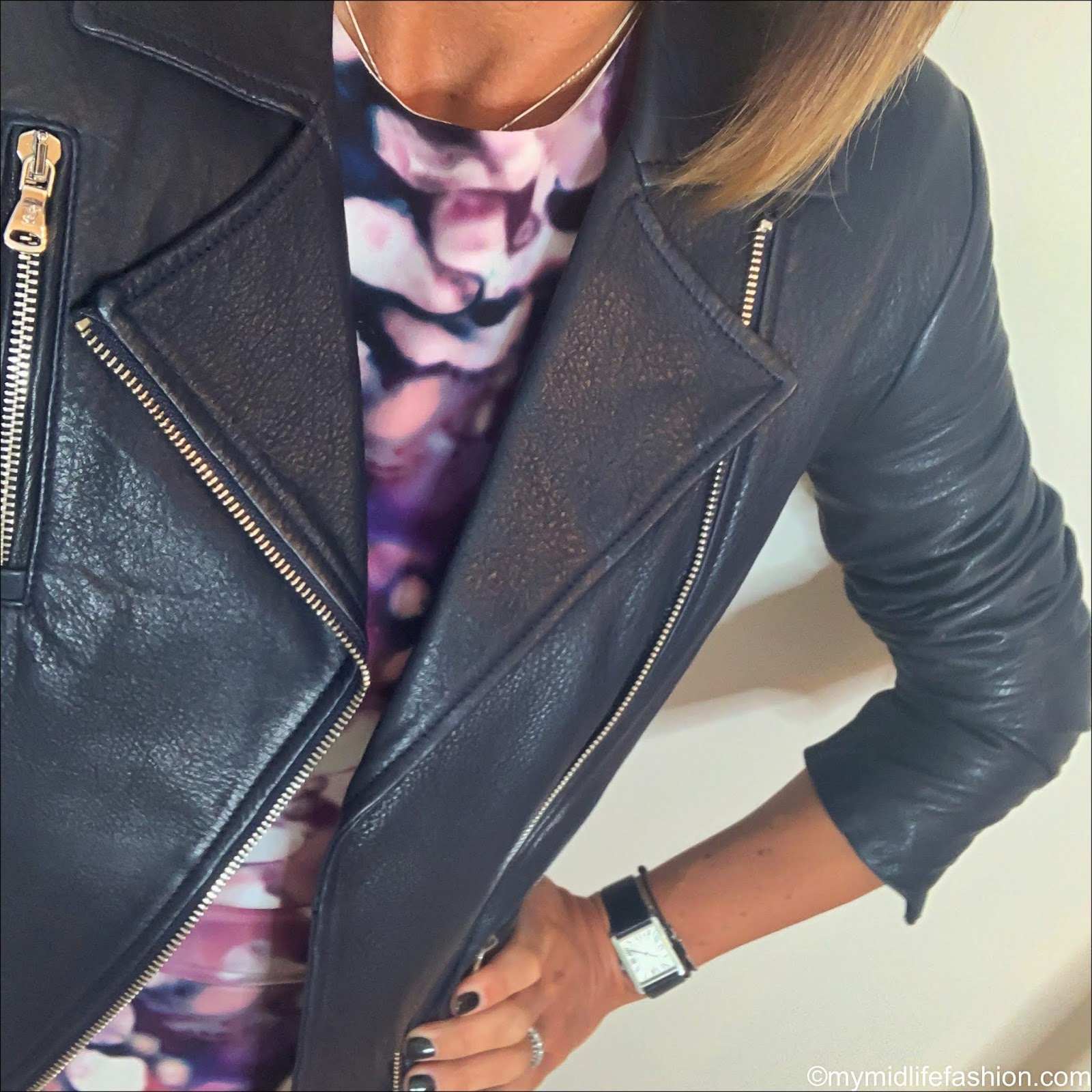my midlife fashion, Raey bracelet sleeve splurge print silk dress, Massimo dutti leather biker jacket, golden goose superstar low top leather trainers
