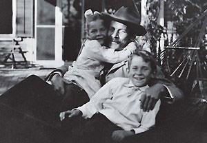 E.E. Cummings with his father Edward Cummings and sister Elizabeth Cummings