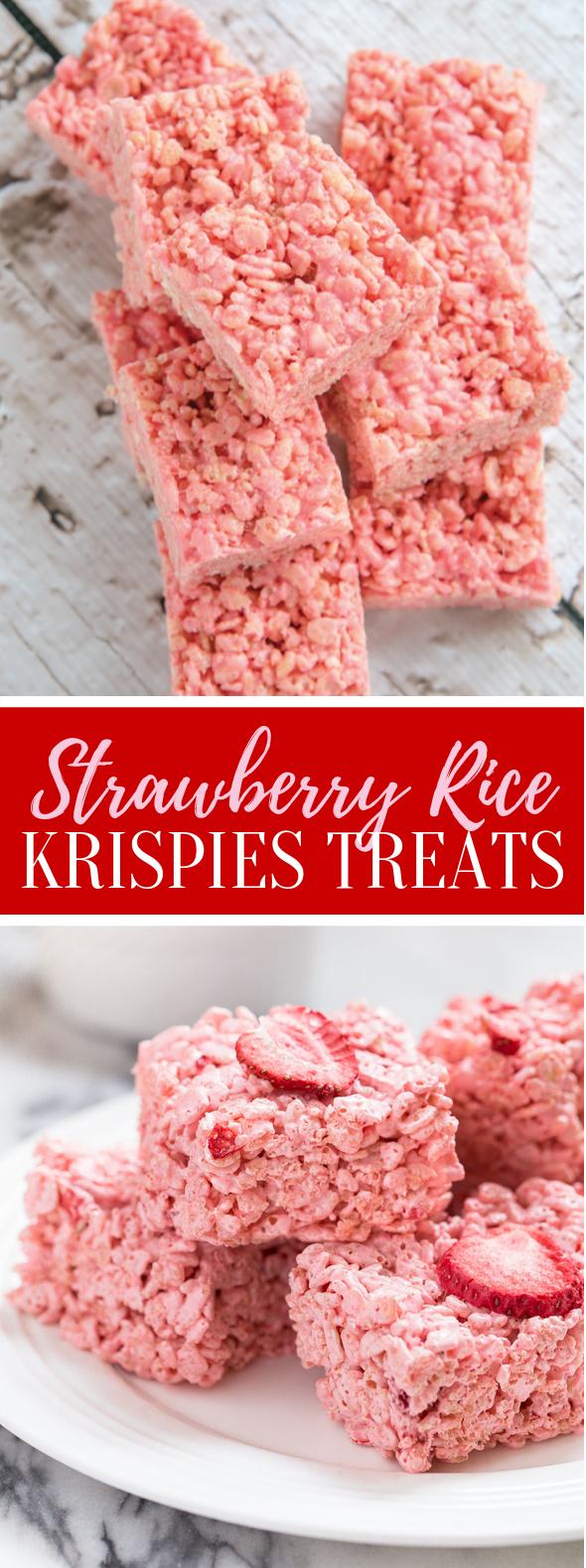 Strawberry Rice Krispie Treats #desserts #frozenrecipes #treats #strawberry #sweets