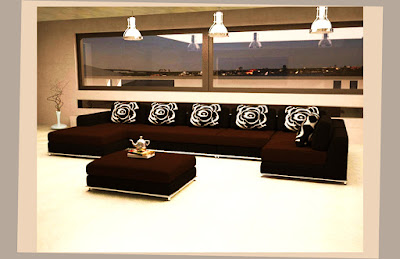 Affordable Modern Apartment Furniture Good Color With 6 Pillows and 1 Table Pic 005