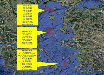 Ασύλληπτη πρόκληση από τους Τούρκους: Δεσμεύουν με NAVTEX τρεις περιοχές στο Αιγαίο για σχεδόν όλο το 2018