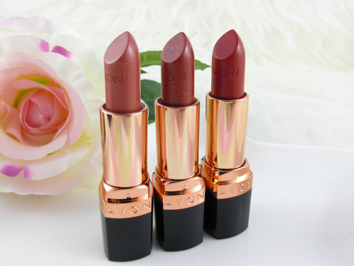Review & Swatches: AVON Ultra Color Lipstick - Golden Nude - Sparkling Bronze - Burnished Red