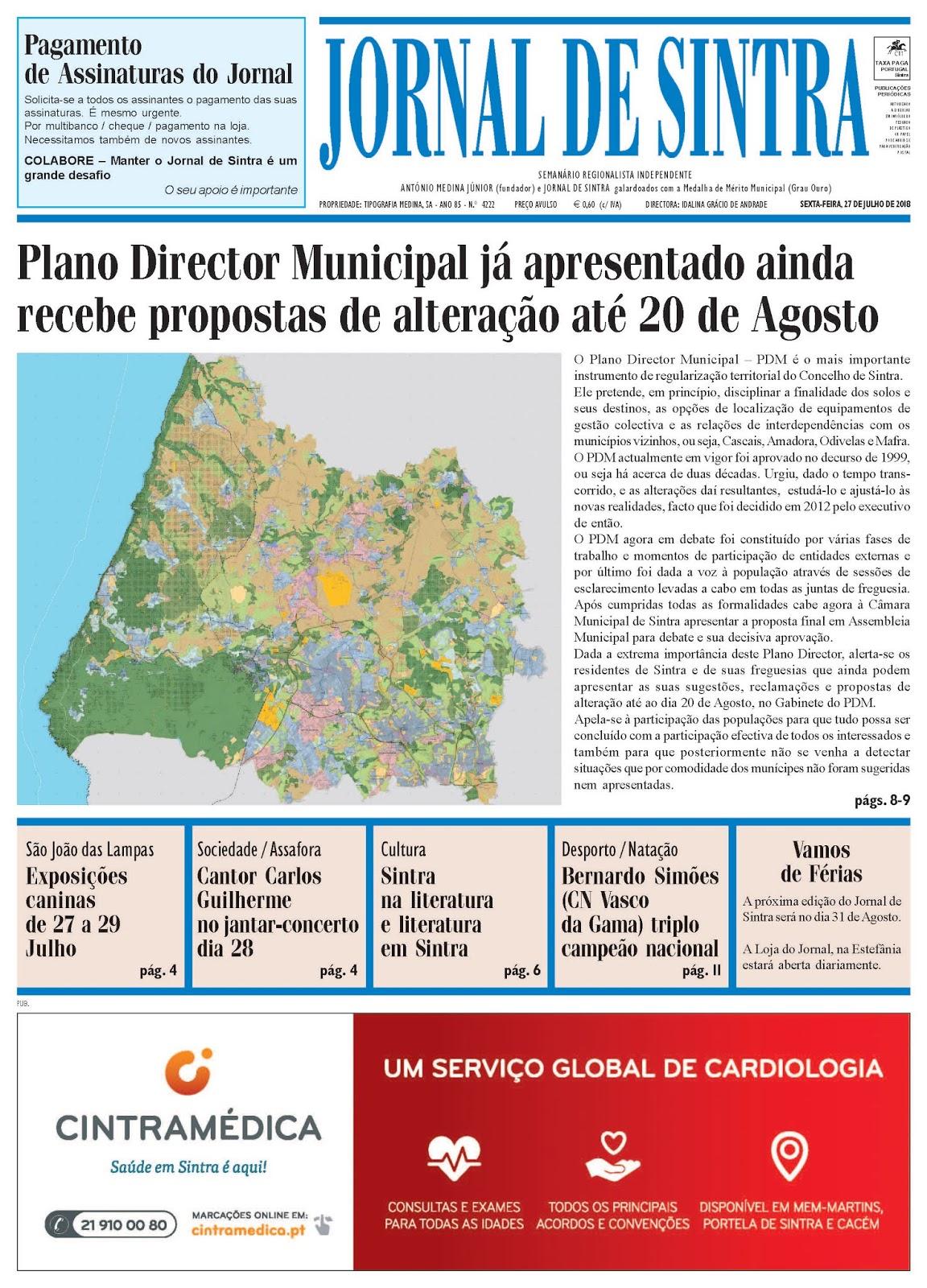 Capa da edição de 27-07-2018