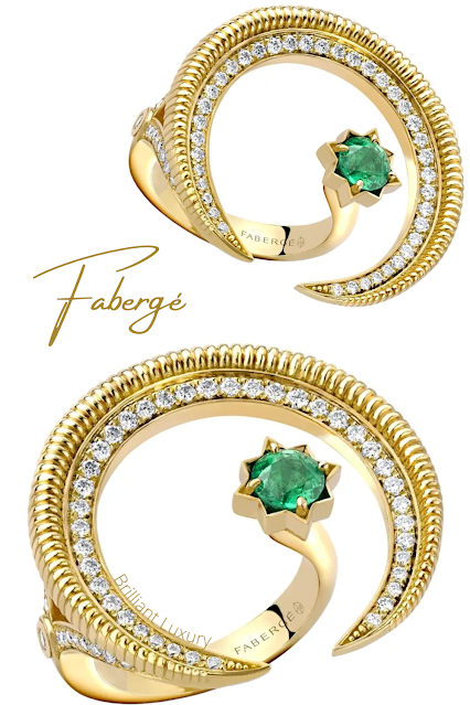 Fabergé Colours of Love Hilal yellow gold emerald diamond ring #brilliantluxury