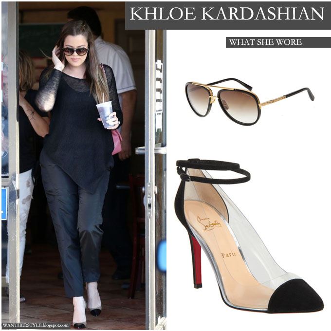 Khloe Kardashian in transparent pointed toe pumps with black cap top and  dark sunglasses on July
