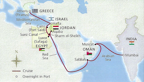 Measuring night sky brightness on Journey through the middle east and beyond (Source: Cruise ship itinerary)