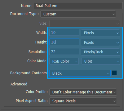 Ukuran dokumen baru Photoshop untuk Pattern
