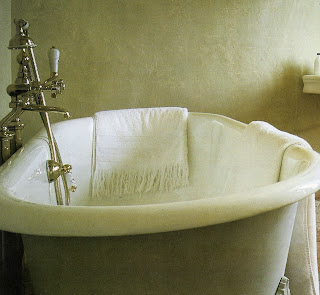 Clawfoot tub in French chateau bath (see image above), edited by lb for linen & lavender