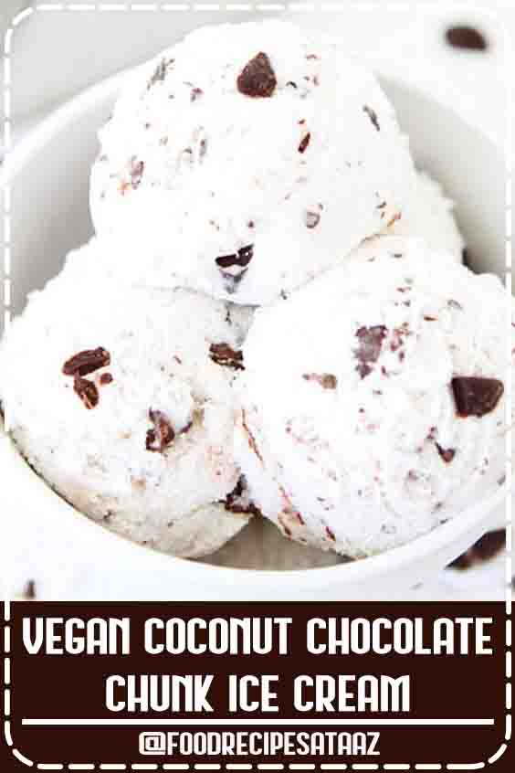 4.6 ★★★★★ | Vegan Coconut Chocolate Chunk Ice Cream-this easy coconut milk ice cream recipe only has 5 ingredients and it's dairy-free! Perfect as summer dessert!#Fresh #Recipes #Dessert #ChunkIceCream