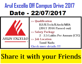 Arun Excello Off Campus Drive 2017 for Freshers