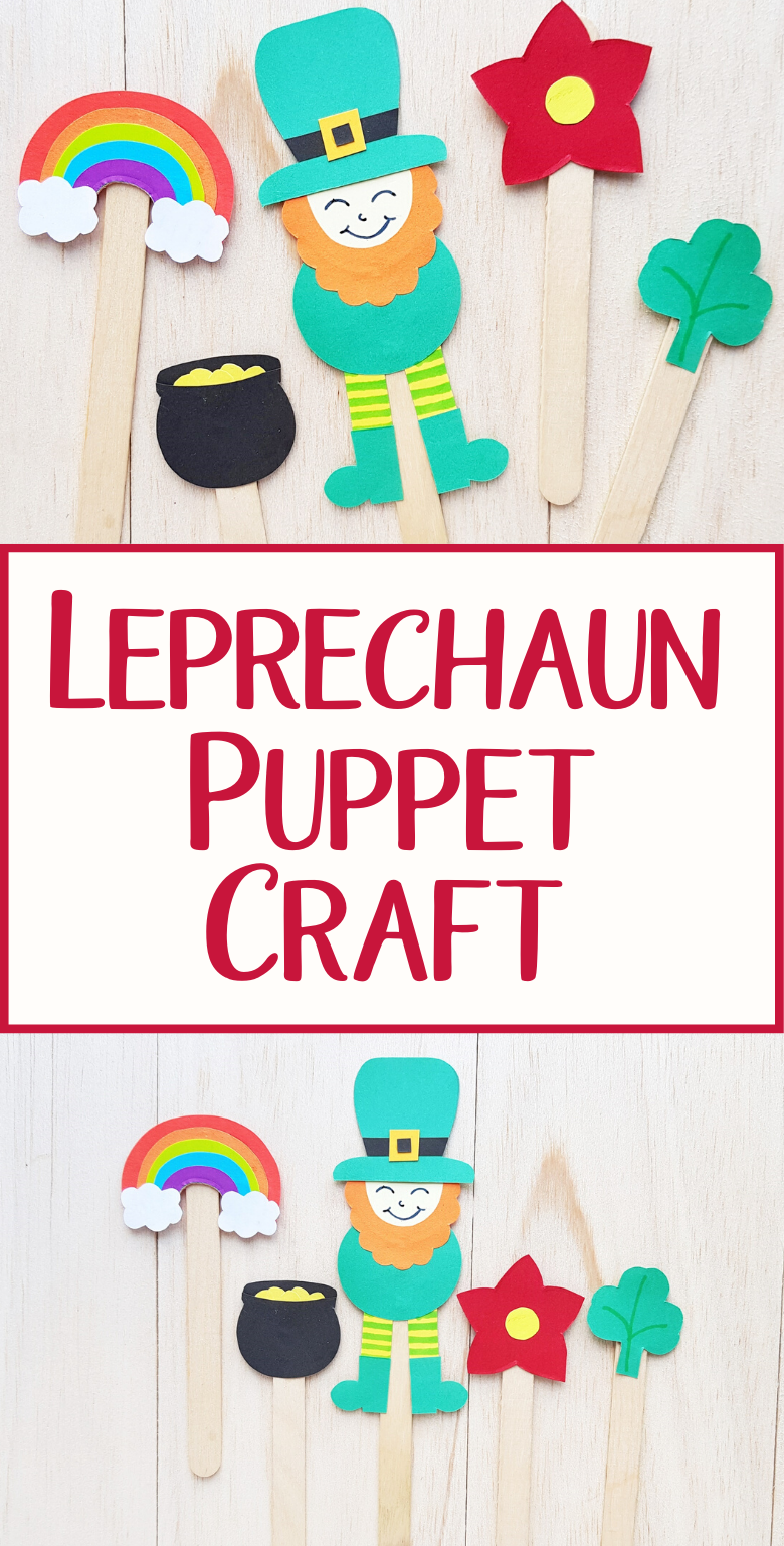Popsicle stick leprechaun craft. Make a leprechaun puppet using our leprechaun template as a St Patricks Day craft for kids.