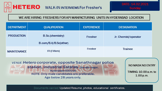Hetero Labs | Walk-in interview for Freshers on 14th Feb 2021