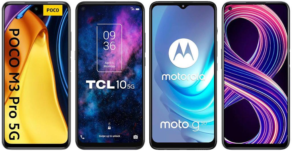 Xiaomi POCO M3 Pro 5G vs TCL 10 5G vs Motorola Moto g50 vs Realme 8 5G