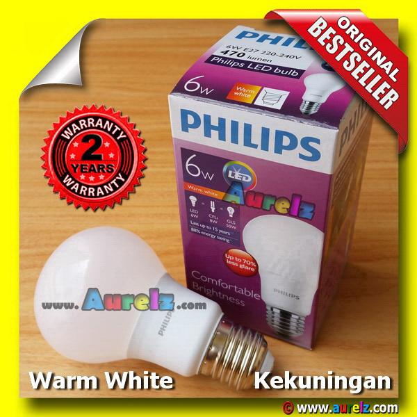 lampu led philips 6 watt warm white