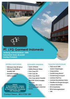 Loker PT LYG Garment Indonesia Majalengka Terbaru 2020